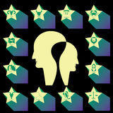 黄道带星和头人 免版税库存照片