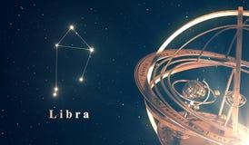 黄道带星座天秤座和浑仪在蓝色背景 库存照片