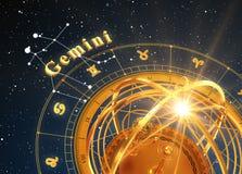 黄道带标志双子星座和浑仪在蓝色背景 免版税库存照片