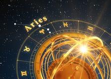 黄道带标志白羊星座和浑仪在蓝色背景 免版税库存照片