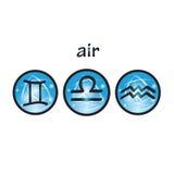 黄道带标志空气元素 免版税图库摄影