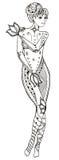 黄道带标志-处女座 赤裸妇女覆盖物用手 Vec 免版税库存照片