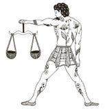 黄道带标志-天秤座 年轻人藏品标度 向量Illustratio 免版税库存图片