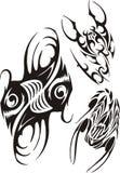 黄道带标志-鱼和蝎子 动画片重点极性集向量 库存图片
