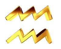 黄道带白色背景的标志宝瓶星座 免版税库存照片