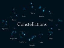 黄道带符号 黄道带标志的星座,占星 星团 向量 皇族释放例证