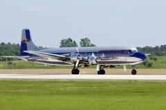 道格拉斯DC-6葡萄酒飞机 库存照片