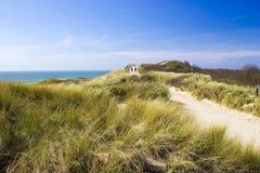 道路低谷沙丘, Zoutelande,荷兰 免版税库存照片
