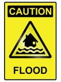 洪水道路危险标志 免版税库存照片