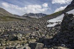 道路向Stabbeskaret断层块,附近的Trollstigen在挪威 免版税库存照片