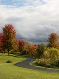 绕道路在一个公园在多云天空下 免版税库存照片