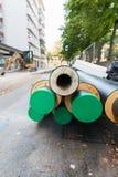 道路工程在城市 蒸汽加热的设施 库存图片