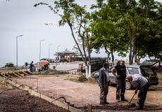 道路施工工作地区在国家土耳其 免版税库存图片