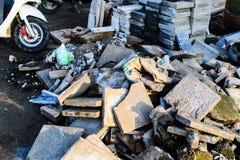 道路施工工作残余-土耳其 库存图片
