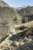 道路的孤零零步行者从Grasmere在湖区, Cumbria,英国 免版税库存照片