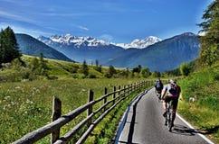 道路的意大利阿尔卑斯未知的骑自行车者 免版税库存照片