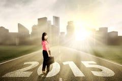 道路的美丽的妇女向未来 免版税库存图片