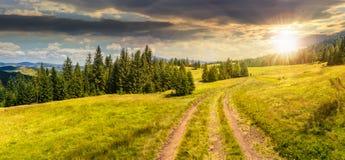 道路穿过森林的草甸在日落的山的 免版税库存图片
