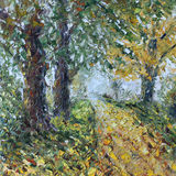 道路穿过森林,油画 图库摄影