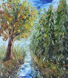 道路穿过森林,油画 库存照片