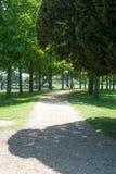 道路穿过规则式园林 免版税库存图片