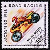 道路赛车,开汽车的serie,大约1981年 库存照片