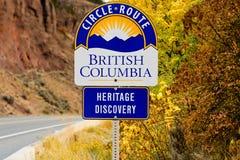 遗产发现圈子路线,不列颠哥伦比亚省的路标 库存照片