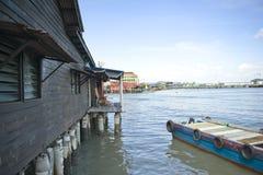 遗产嚼氏族跳船的高跷房子,乔治市,槟榔岛,马来西亚 免版税库存图片
