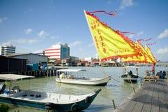 遗产嚼氏族跳船的高跷房子,乔治市,槟榔岛,马来西亚 免版税图库摄影