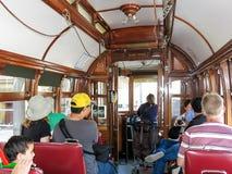 遗产电车的人们在波尔图,葡萄牙 库存照片