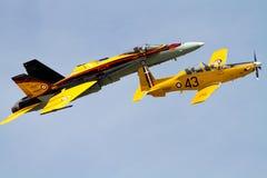 遗产飞行CF-18大黄蜂和CT-156哈佛 库存图片