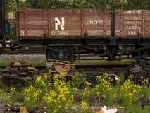 遗弃老火车细节,高峰路轨遗产铁路,马特洛克,德贝郡,英国 免版税库存照片