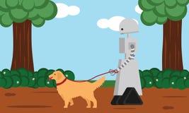 遛国内的机器人狗 库存图片