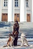 遛的妇女在街道上的一条狗在冬天 免版税库存照片