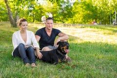 遛美好的夫妇一条狗在公园 在夫妇的焦点 库存图片