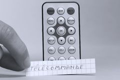 遥控用英语和télécommande法国词 免版税库存照片
