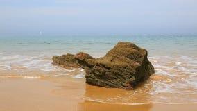 遥远的多岩石的海滩在布里坦尼 股票视频