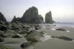 遥远的空的多岩石的海滩 免版税库存图片