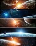 遥远的行星系统全景在空间3D翻译元素的 免版税库存图片