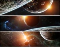 遥远的行星系统全景在空间3D翻译元素的 图库摄影