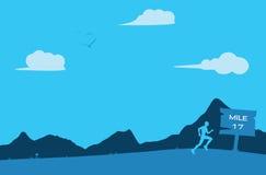 遥远的赛跑者连续地形英里背景例证 库存图片