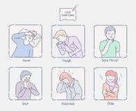 遭受寒冷的人的各种各样的症状 向量例证