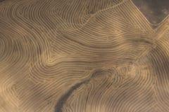 遭受干旱的耕种的农田鸟瞰图  免版税库存图片