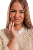 遭受牙痛的美丽的妇女 库存图片