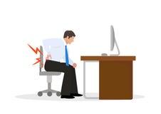 遭受腰疼的生意人 生意人在工作 例证 皇族释放例证