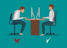 遭受腰疼 生意人在工作 例证 库存例证