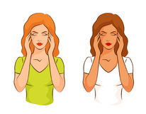 遭受头疼的妇女,接触她的寺庙 免版税库存图片