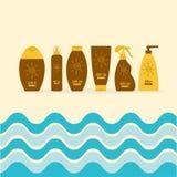 遮光剂晒黑油奶油管  在太阳化妆水以后 瓶集合 太阳防御 螺旋太阳标志标志象 SPF另外太阳PR 向量例证