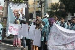 遮掩反对腐败的男女共学抗议 免版税库存照片