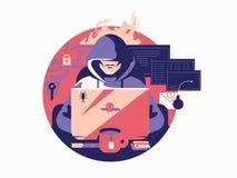 遮蔽的黑客 库存例证